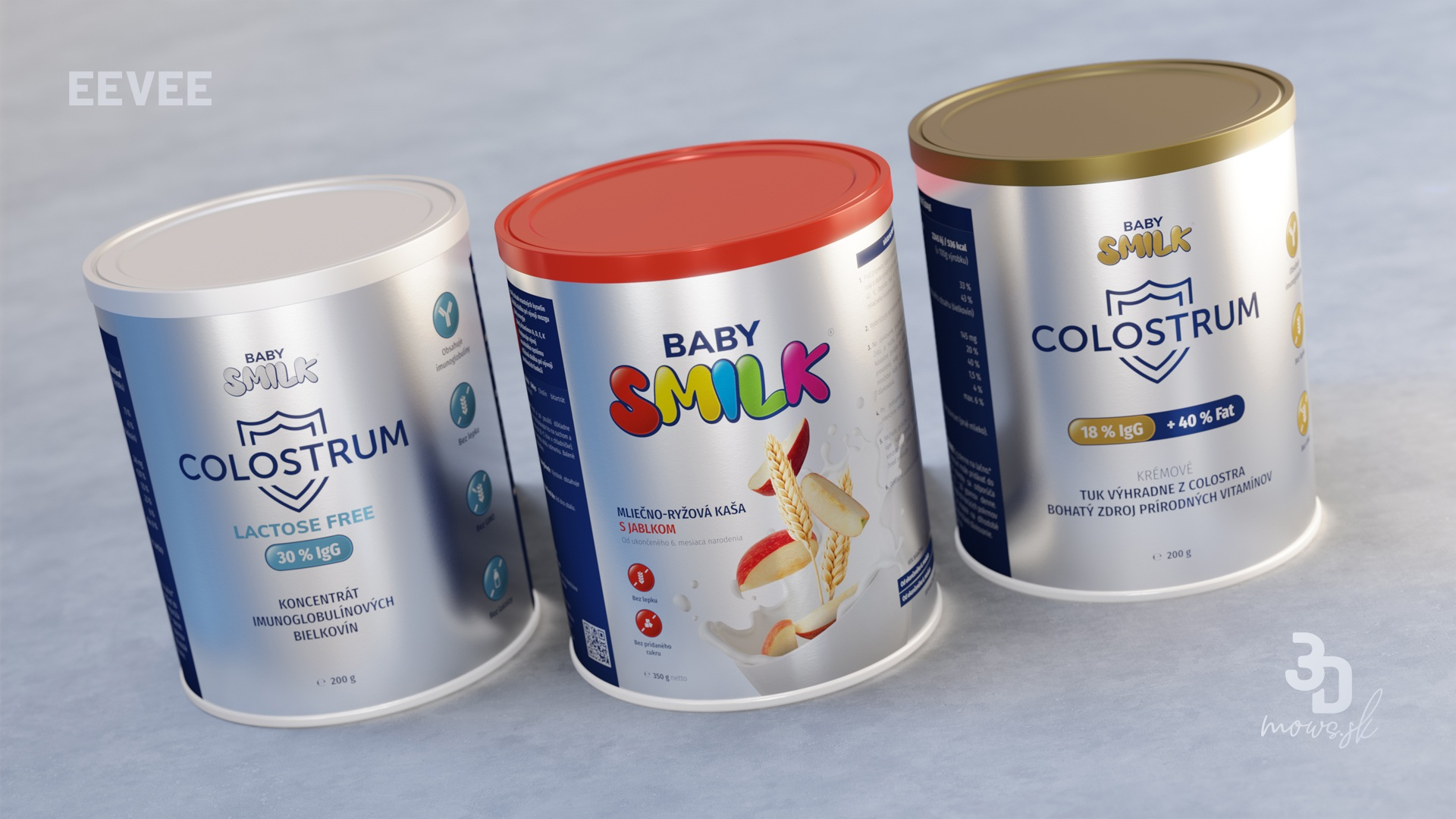 Baby Smilk produkty na metalickej fólii renderované cez EEVEE