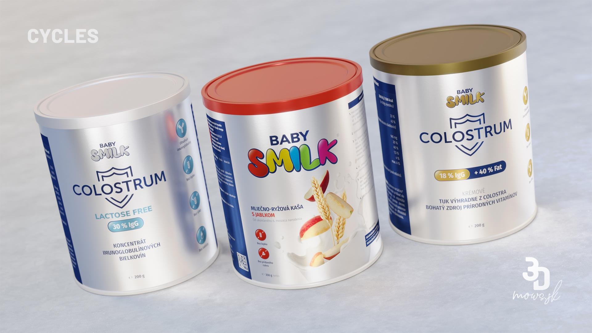 Vybrané Baby Smilk nádoby renderované cez Cycles