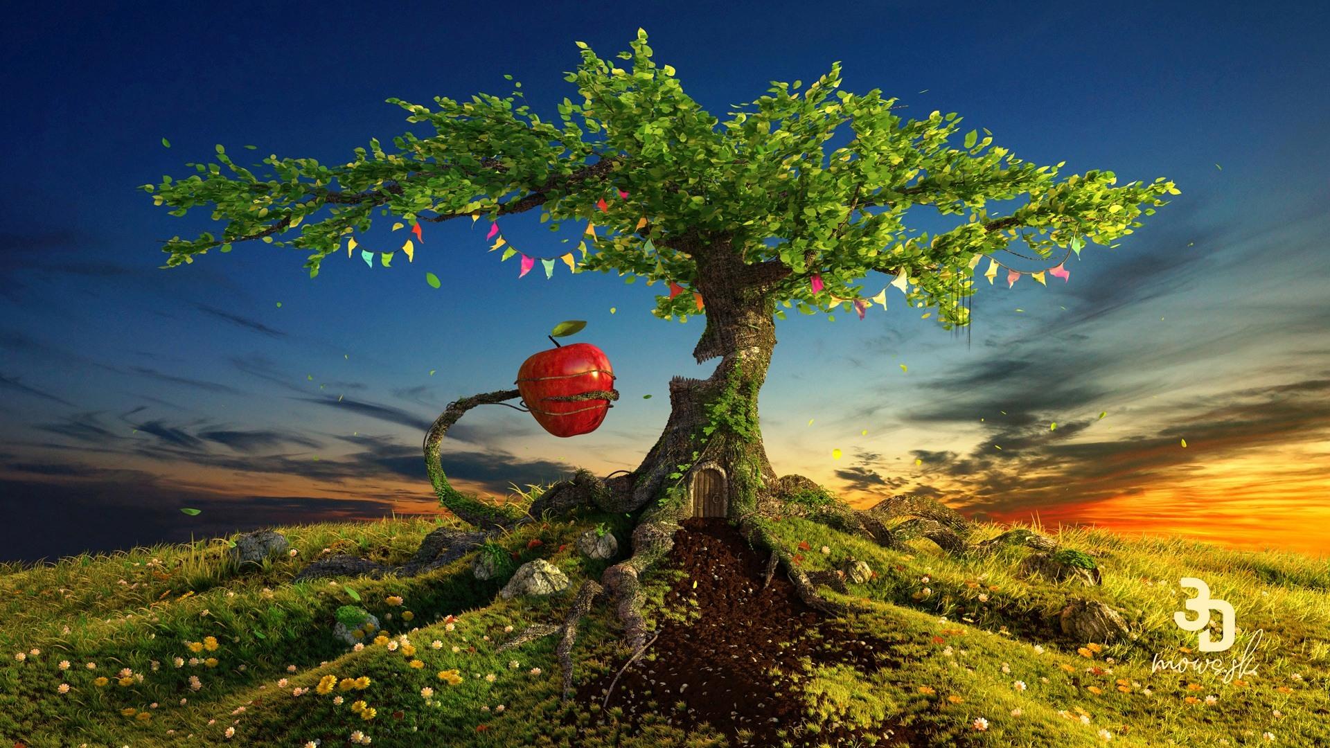 Letná scéna s jablkom