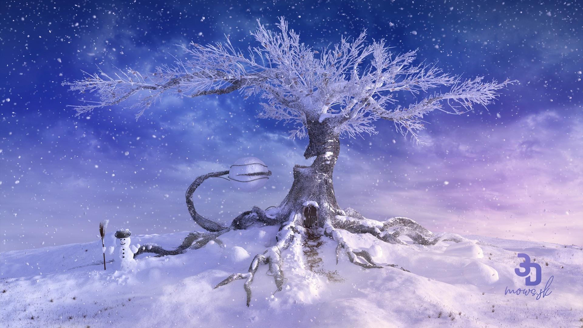 Zimná zasnežená krajina