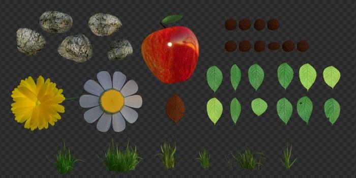 Jablko s textúrou a objekty pre častice