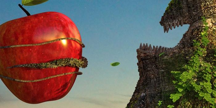 Detail textúry jablka s odleskom