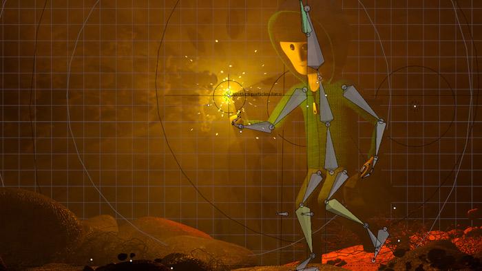 WKostra postavy pripravená na jednoduchšiu animáciu a importovaný dym v OpenVDB