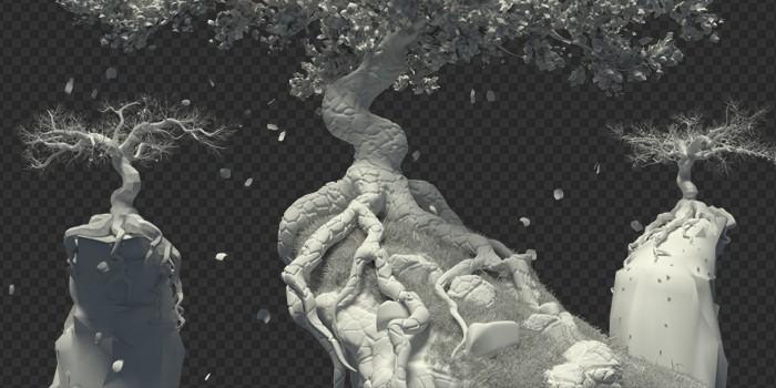 Pracovná 3D scéna bez použitia textúr