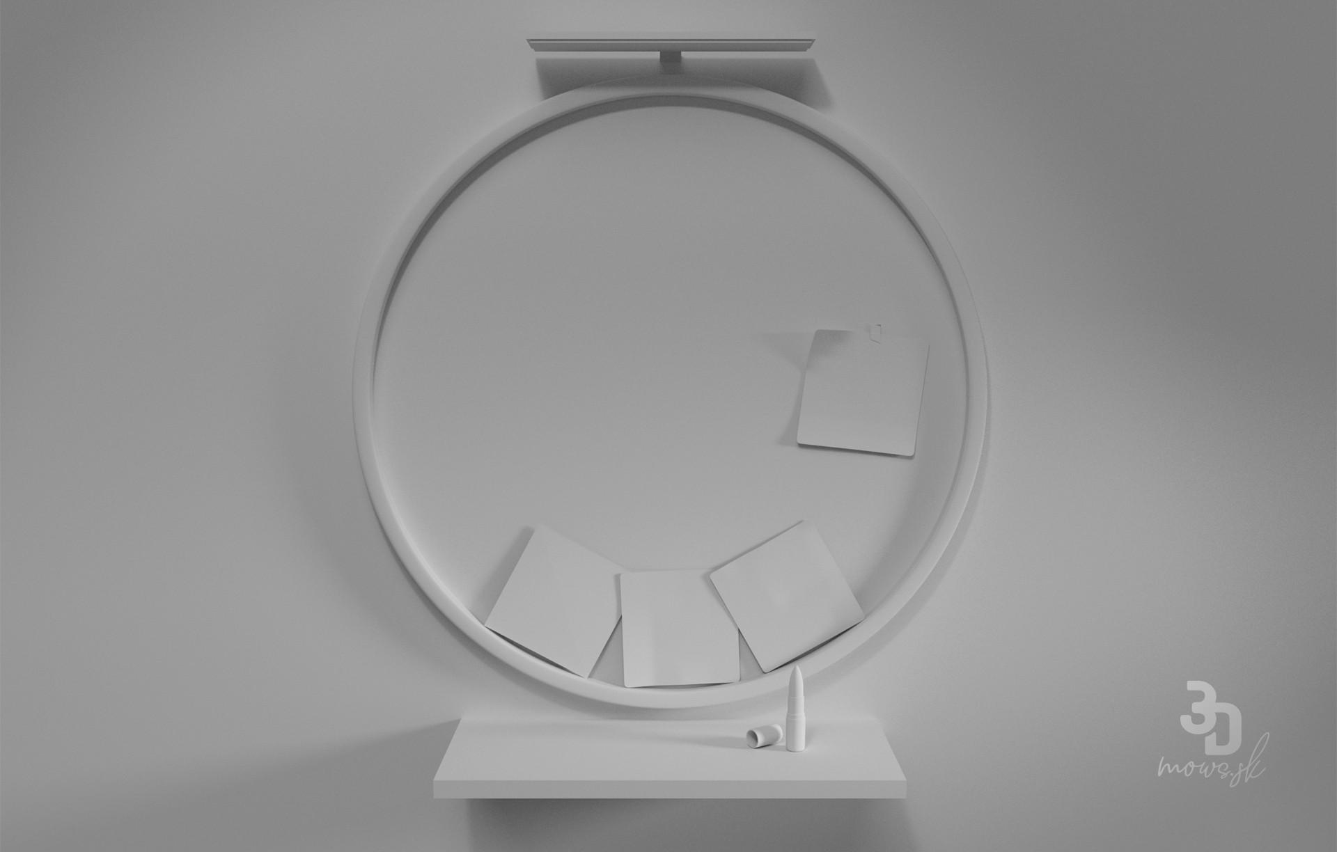 3D model časti kúpeľne a okrúhleho zrkadla