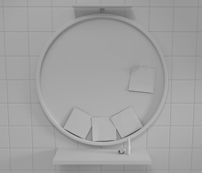 Pracovné 3D prostredie prvého návrhu s obkladačkami