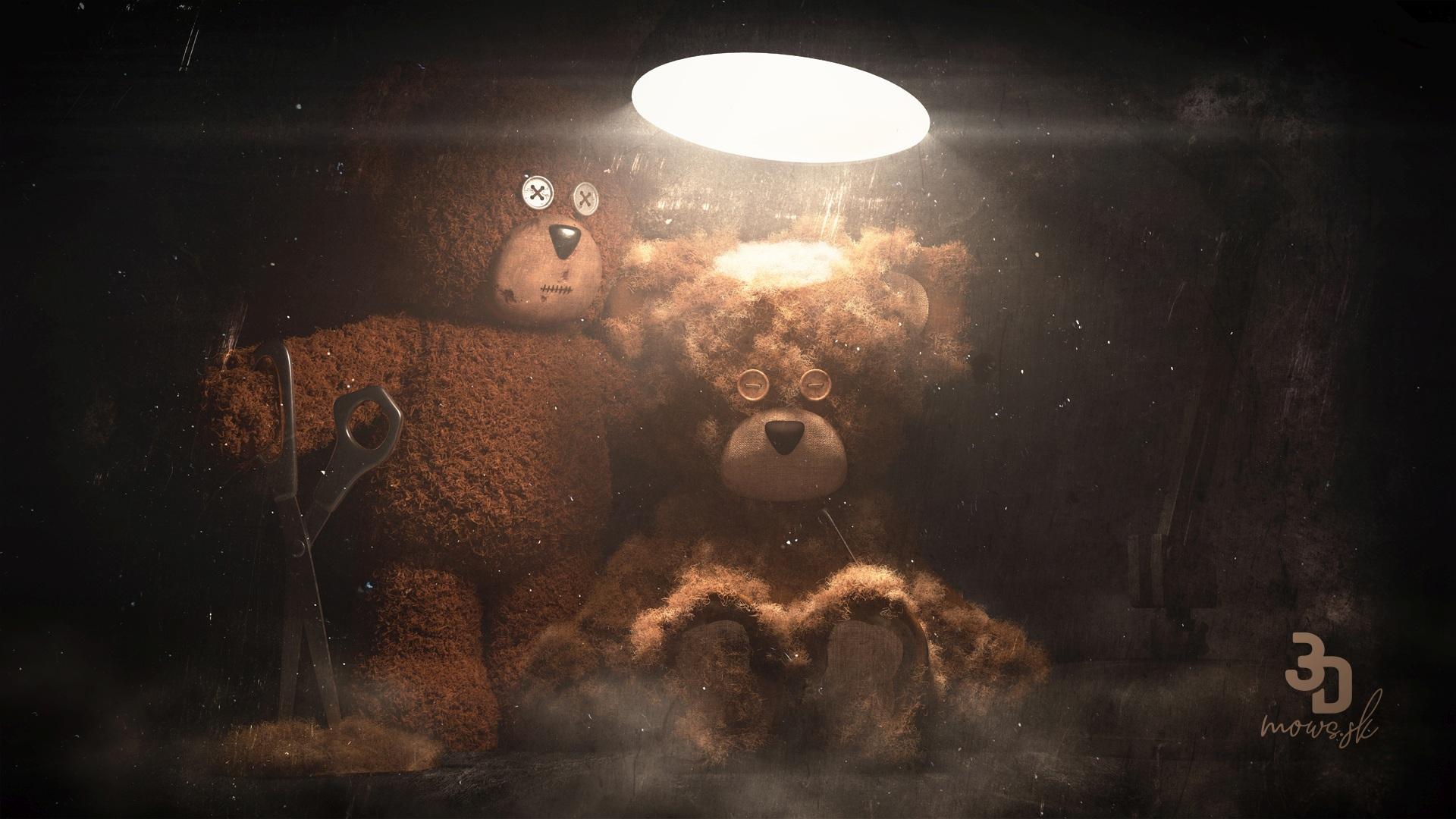 Vyrenderovaný medvedi upravený v Adobe Photoshop