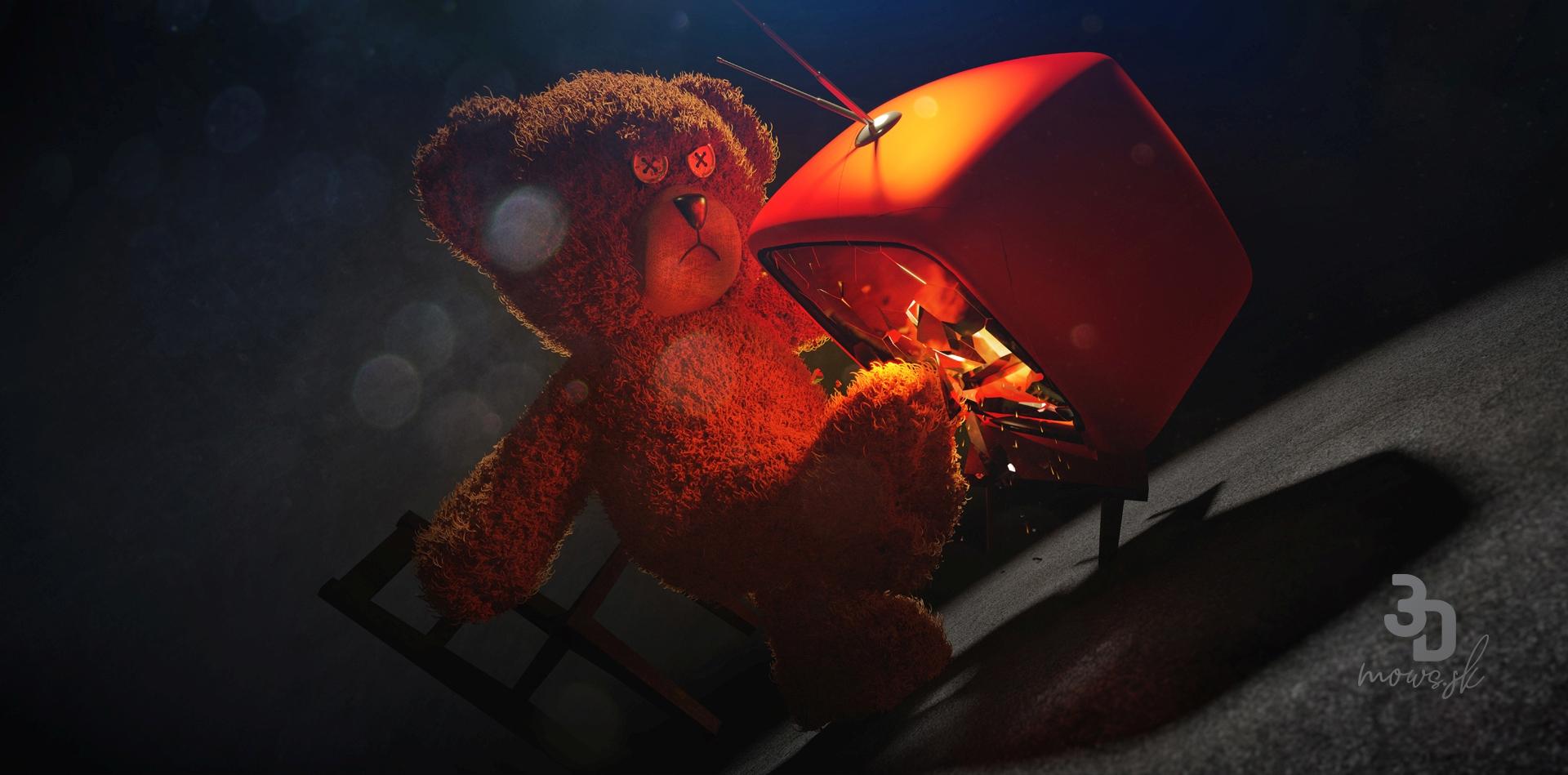 3D render medveďa a telkáča s postprocesom v Adobe Photoshop