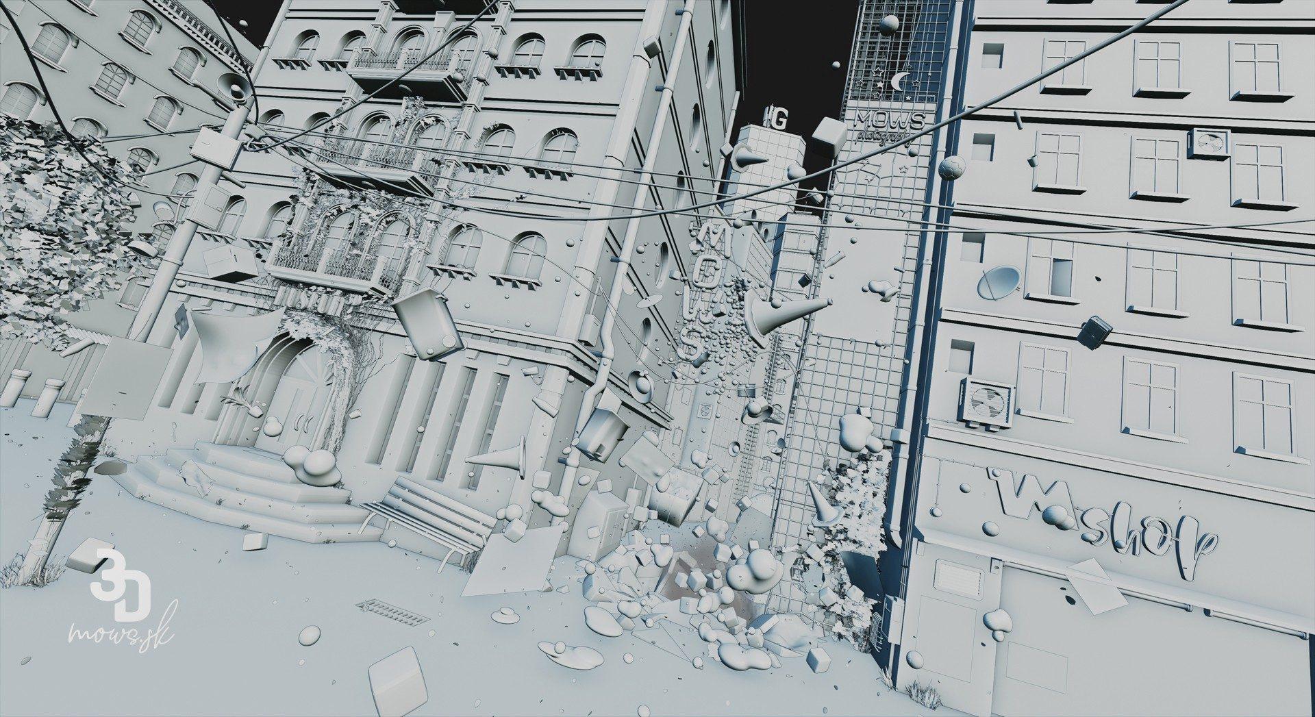 Ulica bez textúr a svetiel renderovaná cez Workbench