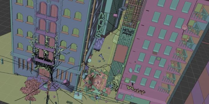 Pracovné prostredie (viewport shading - random color)