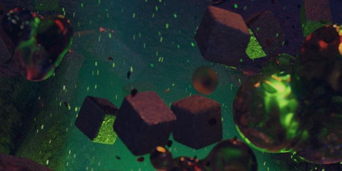 Letiace častice s rozmazaním pohybu a zelený dym