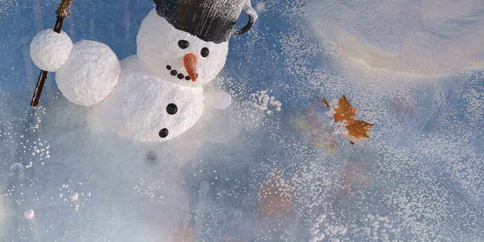 Pracovný náhľad na ľad s časticami snehu