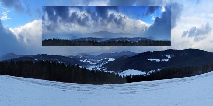 Fotomontáž fotografie ktorá je použitá na pozadí