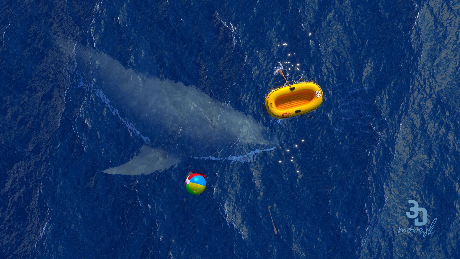3D scéna oceánu a pohybu žraločej plutvy pomocou dynamického kreslenia