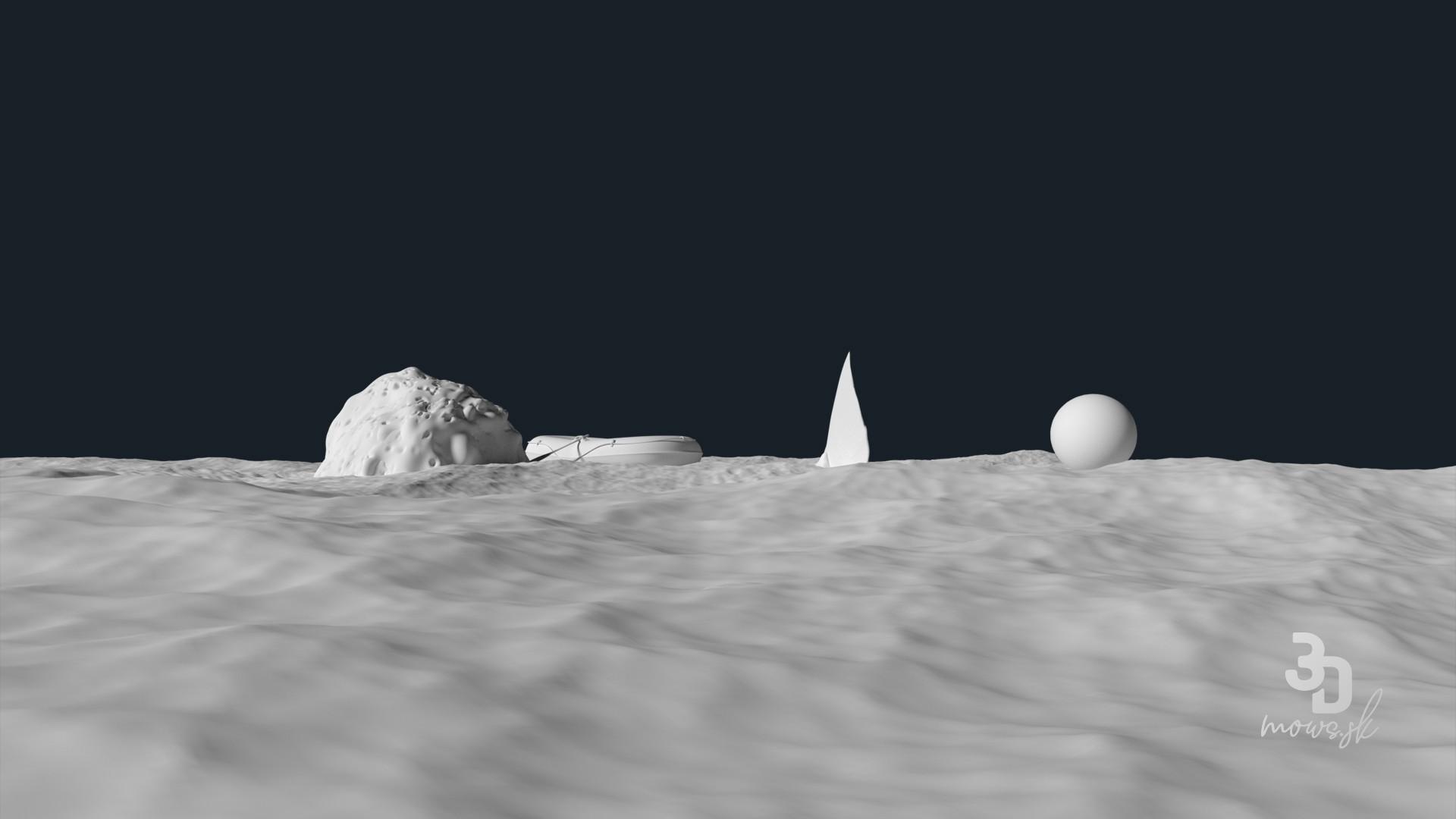 3D render bez textúr a materiálov