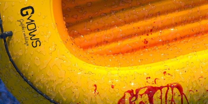 Detail nafukovacieho člnu s časticami vody pomocou metaball